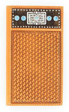 Nocona Basketweave Hair-on Hide Blue Rhinestone Rodeo Wallet, , hi-res