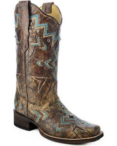 Corral Embroidered Southwest Cowgirl Boots - Square Toe, , hi-res