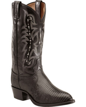 Tony Lama Lizard Boots - Medium Toe, Black, hi-res
