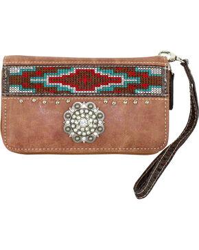 Savana Women's Tan Aztec Medallion Wallet, Tan, hi-res