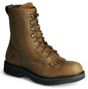 "Wolverine Ingham DuraShocks Lace-Up 8"" Work Boots, Dark Brown, hi-res"