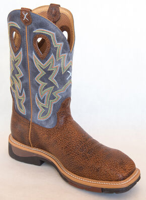 Twisted X Navy Lite Cowboy Work Boots - Soft Square Toe , Peanut, hi-res