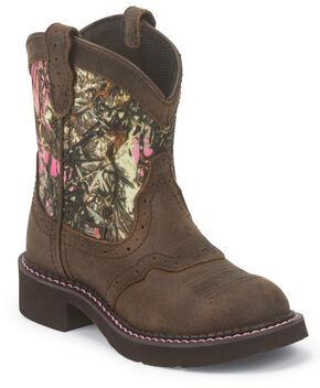 Justin Junior Gypsy Kid's Camo Boots - Round Toe , Bark, hi-res