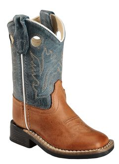 Old West Toddler Boys' Barnwood Cowboy Boots - Square Toe, , hi-res