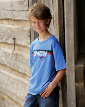 Cinch Boys' Blue Logo T-Shirt, Hthr Blue, hi-res