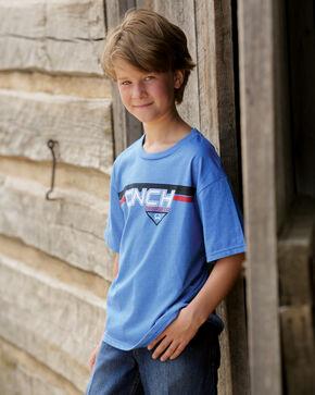 Cinch Boys' Blue Logo T-Shirt, Hthr Blue, hi-res