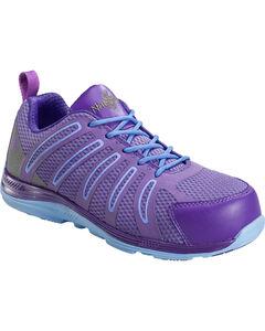 Nautilus Women's Purple Wedge Sole Work Shoes - Comp Toe , , hi-res
