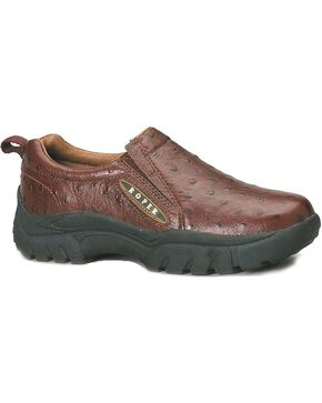 Roper Performance Slip-On Ostrich Print Casual Shoes - Wide, Dark Brown, hi-res