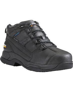 Ariat Men's Contender H2O Waterproof Work Boots - Steel Toe, Black, hi-res