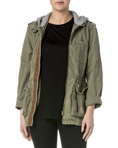Miss Me Women's Olive Army Hooded Utility Jacket , , hi-res