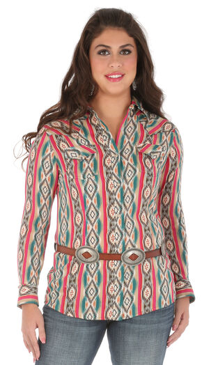 Wrangler Women's Long Sleeve Snap Aztec Print Shirt, Multi, hi-res