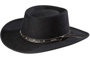 Stetson Black Hawk Crushable Wool Gambler Hat, Black, hi-res