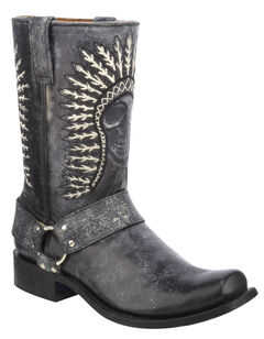 Corral Shaded Skull Harness Cowboy Boots - Square Toe, , hi-res