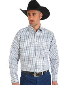 Wrangler Men's Wrinkle Resistant White Plaid Western Snap Shirt, , hi-res