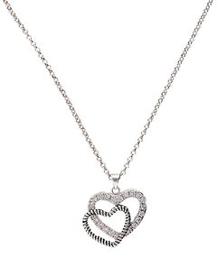 Montana Silversmiths Roped Rhinestone Double Heart Necklace, Silver, hi-res