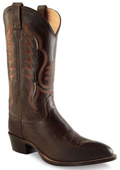 Old West Men's Dark Brown Western Boots - Round Toe , , hi-res