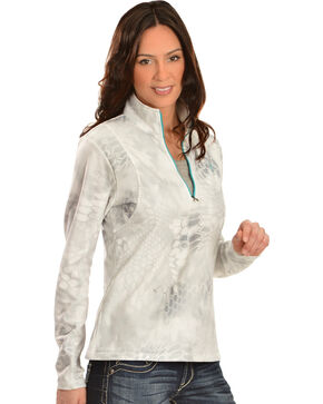 Ariat Women's Kryptek 1/4 Zip Bryce Pullover, White, hi-res