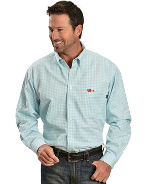 Cinch ® Flame Resistant Plaid Work Shirt, Turquoise, hi-res