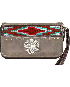 Savana Women's Brown Aztec Medallion Wallet, , hi-res
