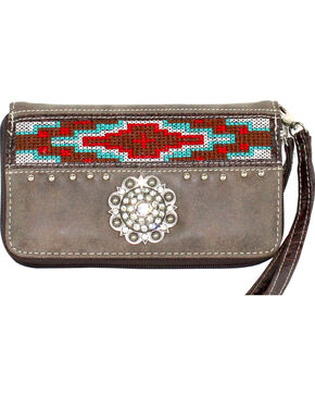 Savana Women's Brown Aztec Medallion Wallet, Brown, hi-res