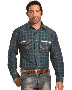 Crazy Cowboy Men's Navy Plaid Western Snap Shirt , , hi-res