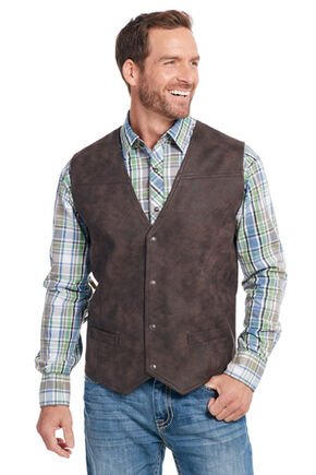 Cripple Creek Men's Brown Distressed Faux Leather Vest , Dark Brown, hi-res