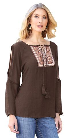 Wrangler Women's Brown Embroidered Peasant Top , Brown, hi-res