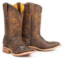 Tin Haul Mud Flap Dancer Cowboy Boots - Square Toe, Brown, hi-res