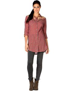 Miss Me Pink Plaid Scroll Applique Tunic, , hi-res