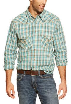 Ariat Hardin Blue Plaid Retro Snap Long Sleeve Shirt, , hi-res