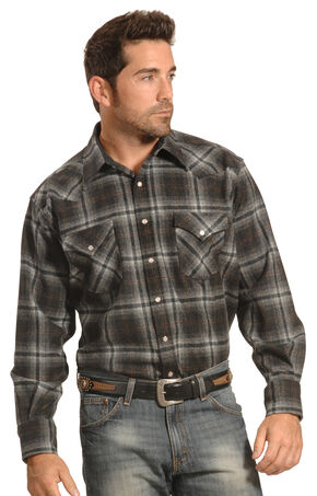 Pendleton Men's Grey Plaid Snap-Front Western Canyon Shirt , Grey, hi-res