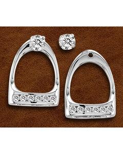 Kelly Herd Sterling Silver Large Rhinestone Stirrup Earrings, , hi-res