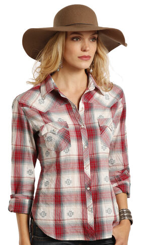 Panhandle Slim Women's White Label Red Dobby Plaid Western Shirt, Red, hi-res