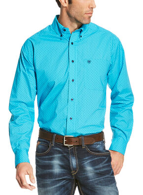 Ariat Men's Blue Riverton Print Long Sleeve Shirt - Big and Tall , Blue, hi-res