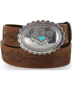 Justin Women's Navajo Heart Leather Belt, , hi-res