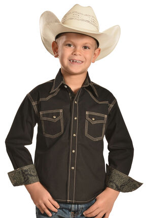 Crazy Cowboy Boys' Solid Black Contrast Western Shirt , Black, hi-res