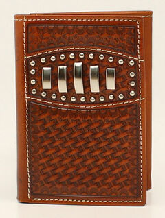 Ariat Basketweave Studded Concho Trifold Wallet, , hi-res