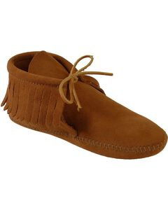 Minnetonka Fringed Soft Sole Moccasins, , hi-res