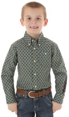 Wrangler 20X Boys' Olive Print Snap Shirt, , hi-res