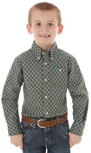 Wrangler 20X Boys' Olive Print Snap Shirt, Olive, hi-res