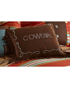HiEnd Accents Brown Cowgirl Studded Faux Leather Pillow, , hi-res