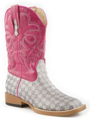 Roper Girls' Glittery Checkerboard Cowgirl Boots - Square Toe, Grey, hi-res