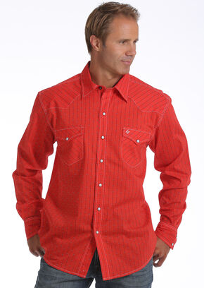 Garth Brooks Sevens by Cinch Men's Red Striped Print Western Shirt, Red, hi-res
