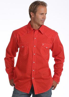 Garth Brooks Sevens by Cinch Men's Red Striped Print Western Shirt, Red, hi-res