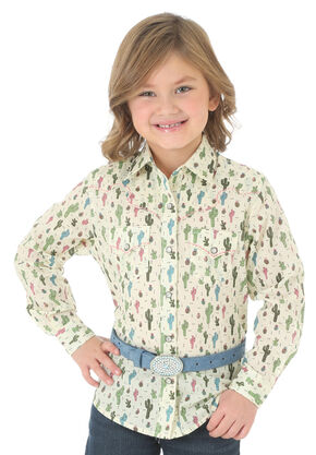 Wrangler Girls' Long Sleeve Cactus Print Shirt, Cream, hi-res