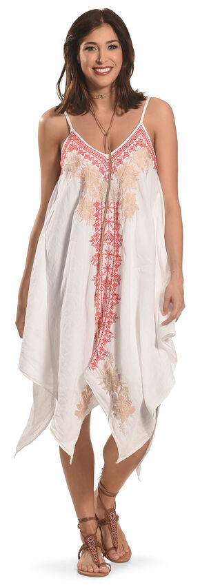 Johnny Was Women's White Kai Hankerchief Dress, White, hi-res