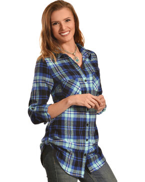 Derek Heart Women's Steer Print Blue Plaid Tunic, Blue, hi-res