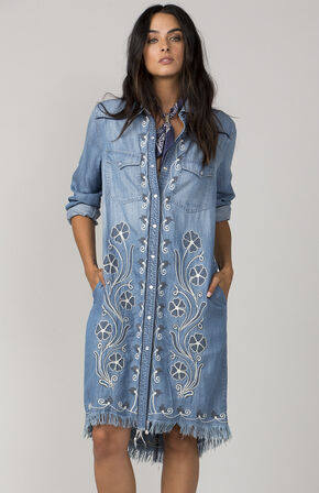 MM Vintage Light Blue In Full Bloom Shirt Dress, Light Blue, hi-res