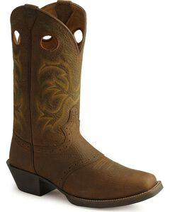 Justin Men's Punchy Stampede Cowboy Boots - Square Toe, Dark Brown, hi-res