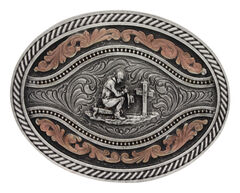 Montana Silversmiths Men's Praying Cowboy Classic Two Tone Attitude Channel Belt Buckle, , hi-res